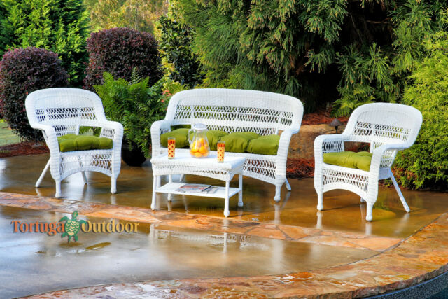 4 Piece White Wicker Patio Furniture Set Outdoor Weather Green .