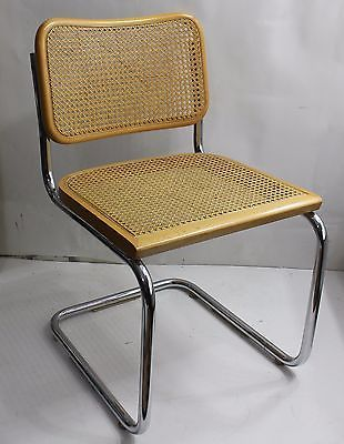 80's Breuer Chrome Metal Cane Chair Wicker Dining Office Chair .