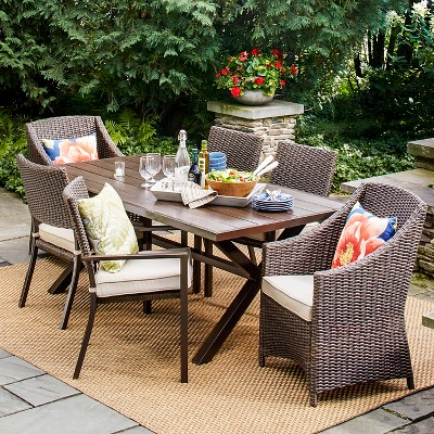 Belvedere Wicker Patio Coffee Table Brown - Threshold™ : Targ