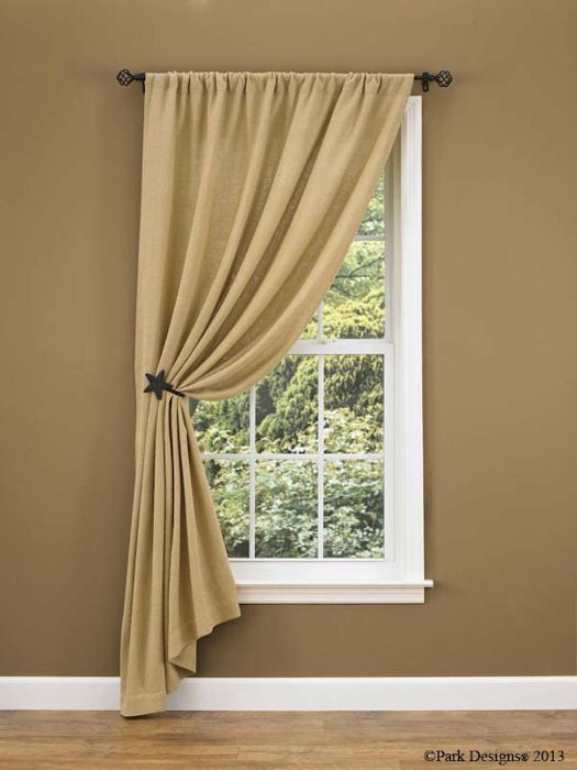 Burlap Curtain Ideas | Change to ruffled top - nice look for many .