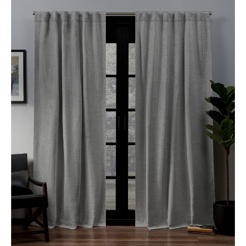 Lancaster Back Tab Blackout Window Curtain Panels - Exclusive Home .