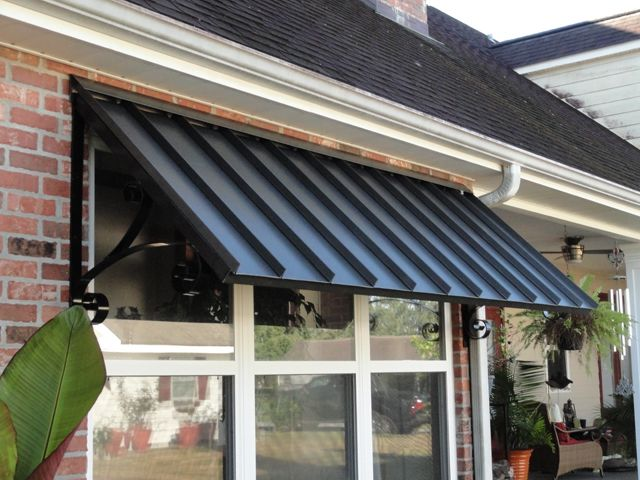 metal awnings porch | Patio Center can design any shape & size .