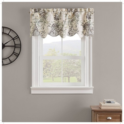 "18""x52"" Kensington Bloom Window Valance Gray - Waverly : Targ"
