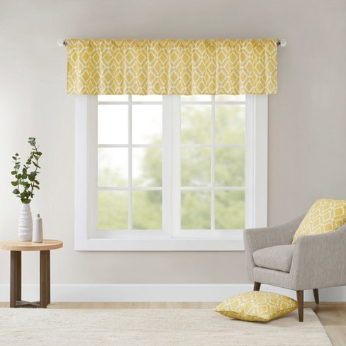 "Natalie Printed Diamond Window Valance Yellow (50x18"") : Targ"