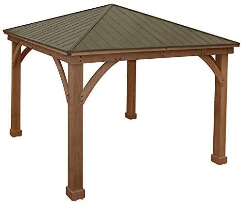 Amazon.com : Gazebo with Aluminum Roof by Yardistry Cedar Wood 12 .