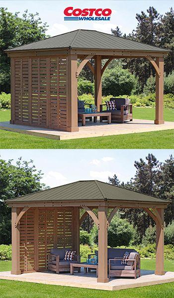 12' Gazebo Privacy Wall | Outdoor pergola, Backyard patio designs .