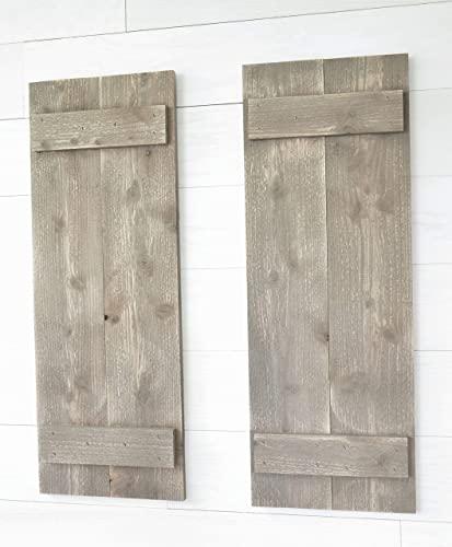 Amazon.com: Rustic Barnwood Farmhouse Style Wood Shutters Set Of .