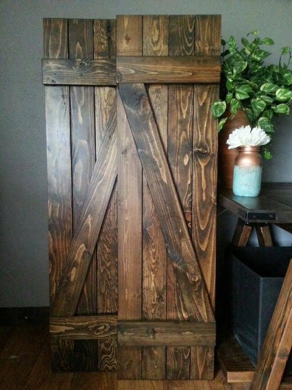 Rustic Z Bar Wood Shutters 60 Interior or Exterior | Et
