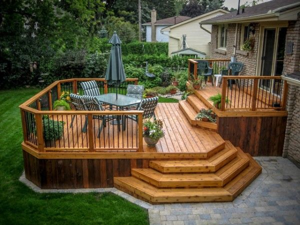 Wooden deck designs | Patio deck designs, Backyard patio designs .