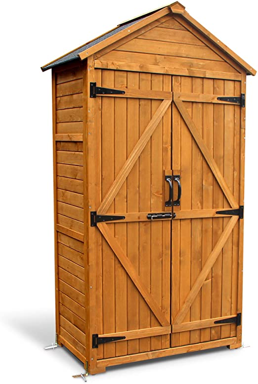 Amazon.com: Mcombo Wooden Garden Shed Wooden Lockers with Fir Wood .