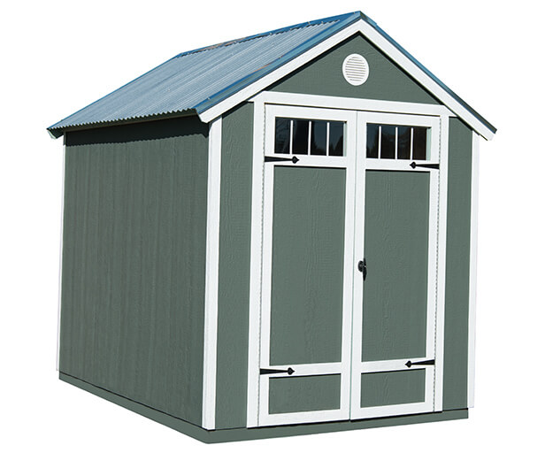 Wood Garden Shed with Metal Roof on Sale - Installed on Si