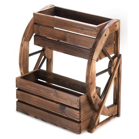 Large Garden Planters, Wooden Planter Boxes, Wagon Wheel Double .