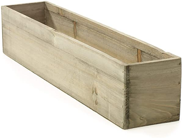 "Amazon.com : 20"" Rectangular Rustic Wood Planter with Plastic ."