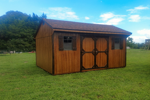 Quaker Wooden Shed build by Amish in Missouri   Rent to Own She