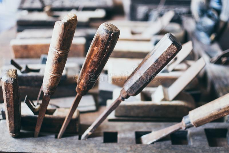 Old Carpentry Tools In A Wooden Workshop Stock Image - Image of .