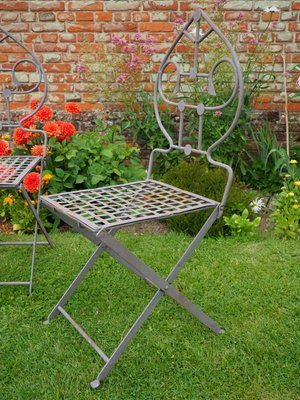 Mid-Century Wrought Iron Garden Chairs, 1950s, Set of 4 for sale .
