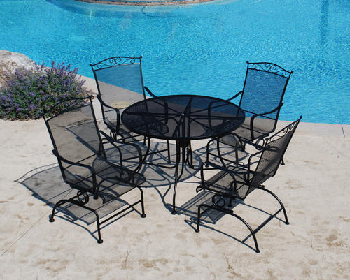 Backyard Creations® Wrought Iron Collection 5-Piece Dining Patio .