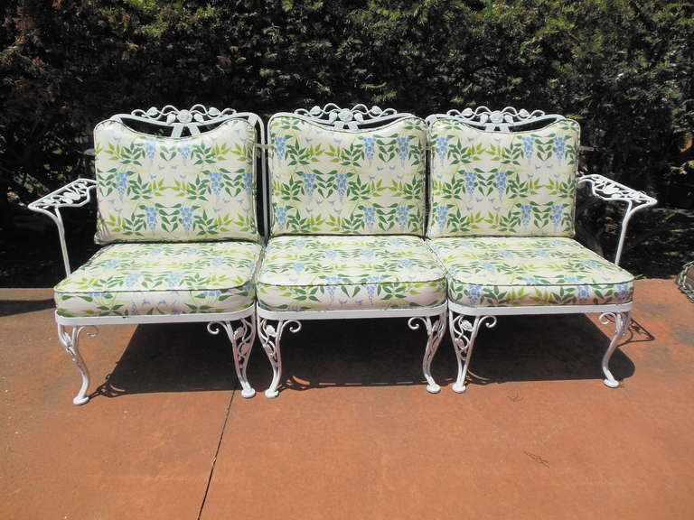 Woodard Wrought Iron Sofa in the Chantilly Rose Pattern | From a .